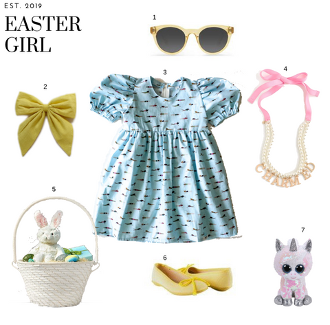 worthy threads easter outfit with blue puff sleeve dress for girls