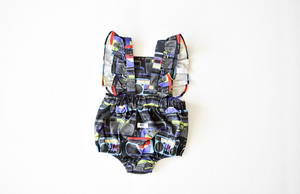 Back view of bubble romper in boombox: unique baby clothes