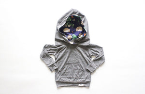 Grey hoodie with hedgehog lining by Worthy Threads clothing brand for unique baby clothes