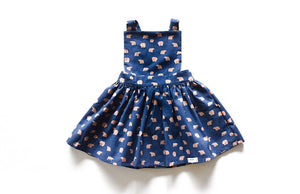 Girls pinafore dress in grizzly bears print