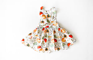 Girls pinafore dress in cheese print: hipster kids clothes