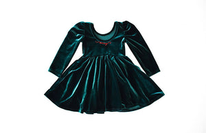 Girls Christmas Dress- green velvet with Merry embroidered on neck