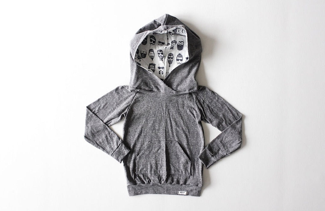 Kids grey hoodie with beatnik hood lining.  Unique kids clothes!