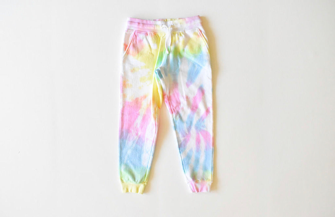 Kids tie dye joggers in pastel: tie dye sweatpants in pastel colors