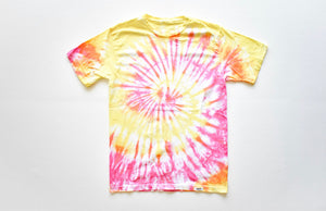 Adult tie dye t-shirt in pink and yellow