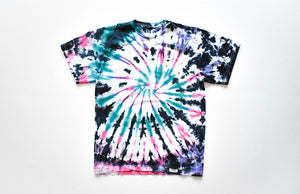 Adult tie dye t-shirt in rainbow: pink, turquoise, purple, black tie dye