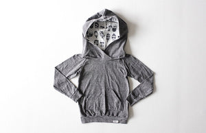 Unique baby clothes by Worthy Threads clothing brand.  Grey baby and toddler hoodie with Beatnik hood lining