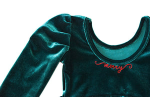 Girls Christmas Dress- green velvety with Merry embroidered at the neckline