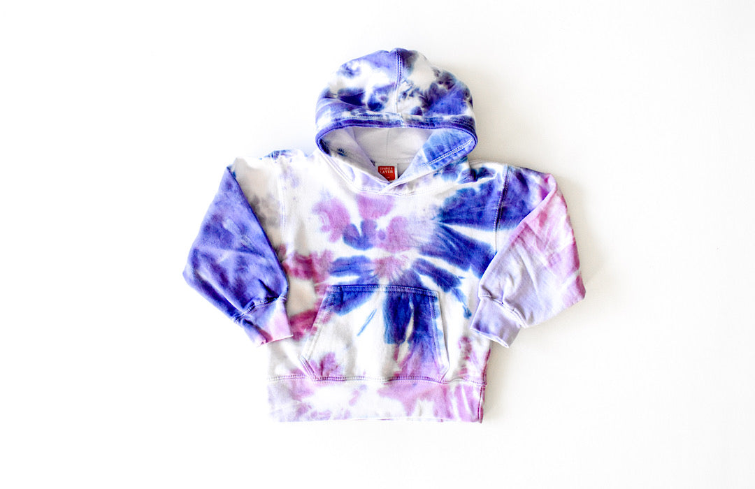 Kids tie dye hoodie in purple: add joggers for tie dye loungewear set