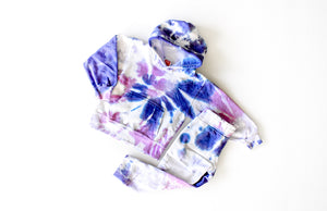 Kids tie dye loungewear set in purple: tie dye hoodie and jogger combo