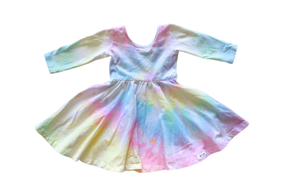 Unique kids tie dye clothing: pastel tie dye twirly dress by Worthy Threads clothing brand