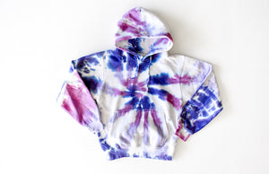Adult tie dye hoodie in purples: tie dye loungewear set sweatshirt
