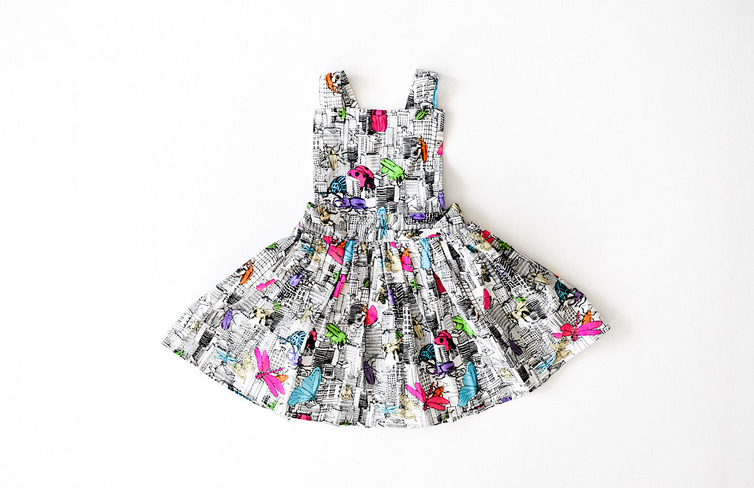 Girls pinafore dress in Bug Invasion: hipster kids clothes by Worthy Threads
