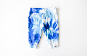 Kids tie dye joggers in blues: tie dye kids clothes by worthy threads
