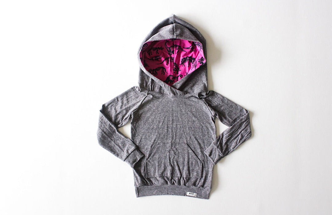 Dinosaur kids clothes- grey lightweight hoodie with dinosaur print hood lining. Unique kids clothes!
