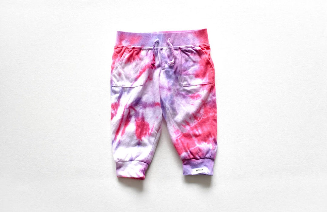 Tie dye baby clothing- tie dye joggers in pink and purple