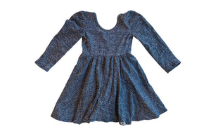 Twirly dress with shoulder detail in blue dots