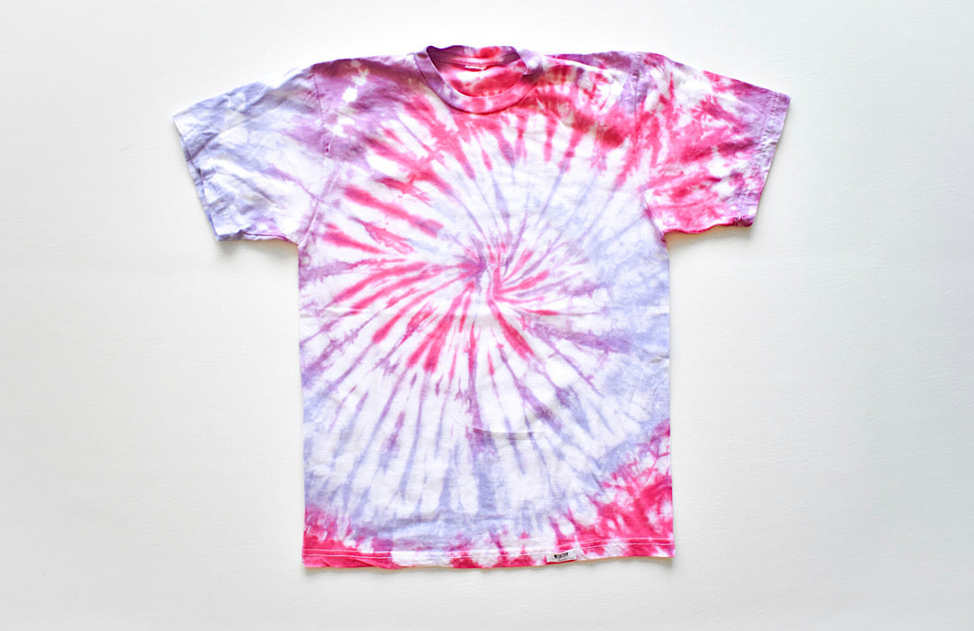 Adult tie dye t-shirt in pink and purple