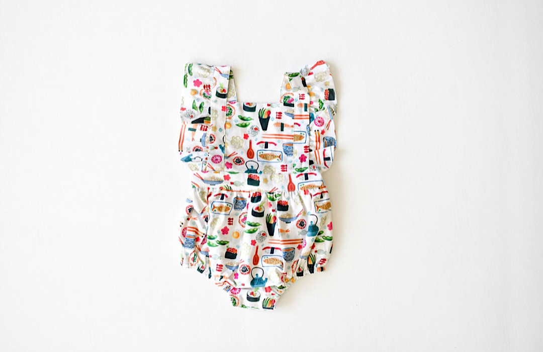 Baby bubble romper in sushi print: unique baby clothes