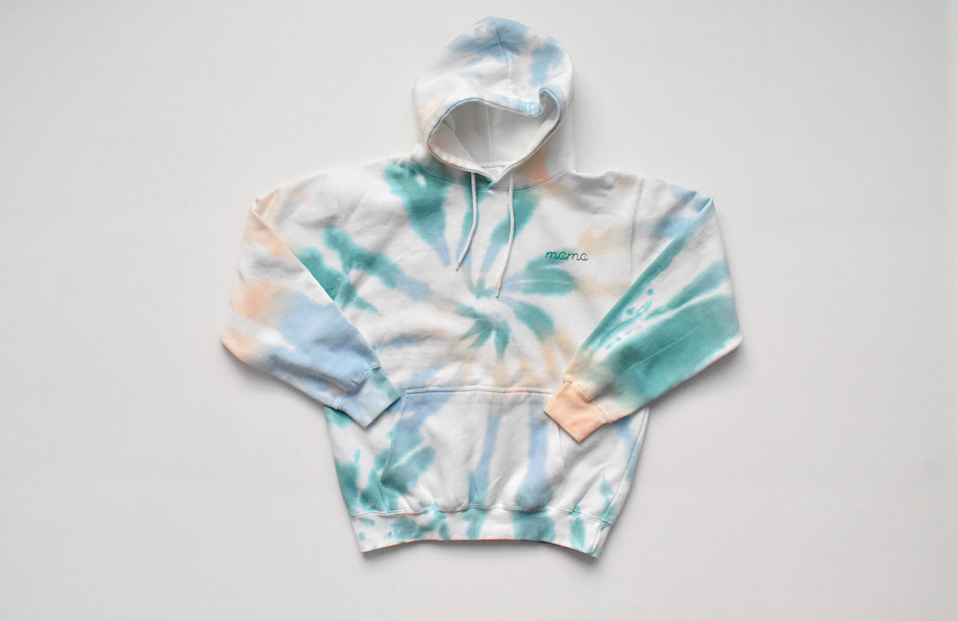 Adult tie dye hoodie with chain stitch embroidery Mama.  Adult tie dye clothing for Mother's Day!