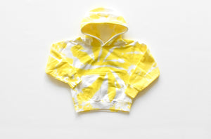 Kids tie dye hoodie in yellow: smiley face embroider on back