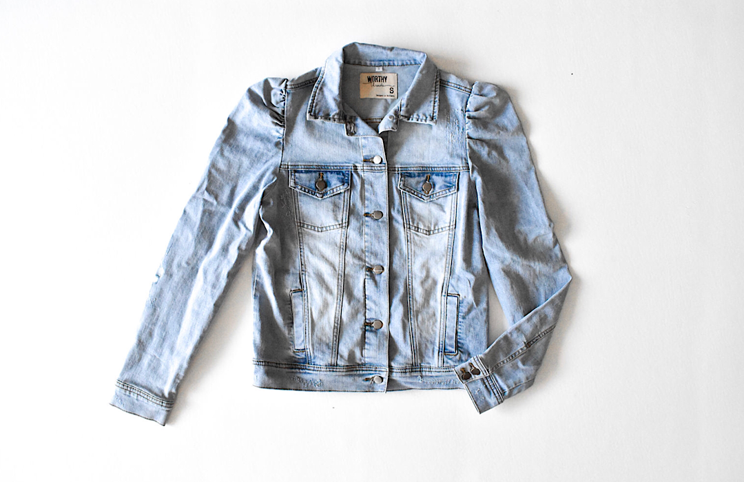 Adult denim jacket with puff sleeve shoulder detail