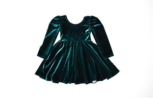 Girls Christmas Dress- Green velvet with Merry embroidered on back