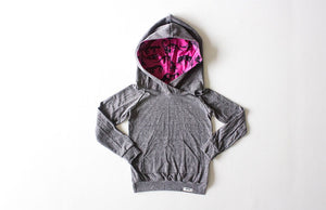 Dinosaur kids clothes- kids grey hoodie with dino print lining the hood.  Unique kids clothes!