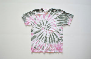 Unique tie dye clothing: adult tie dye tshirt in olive and pink.