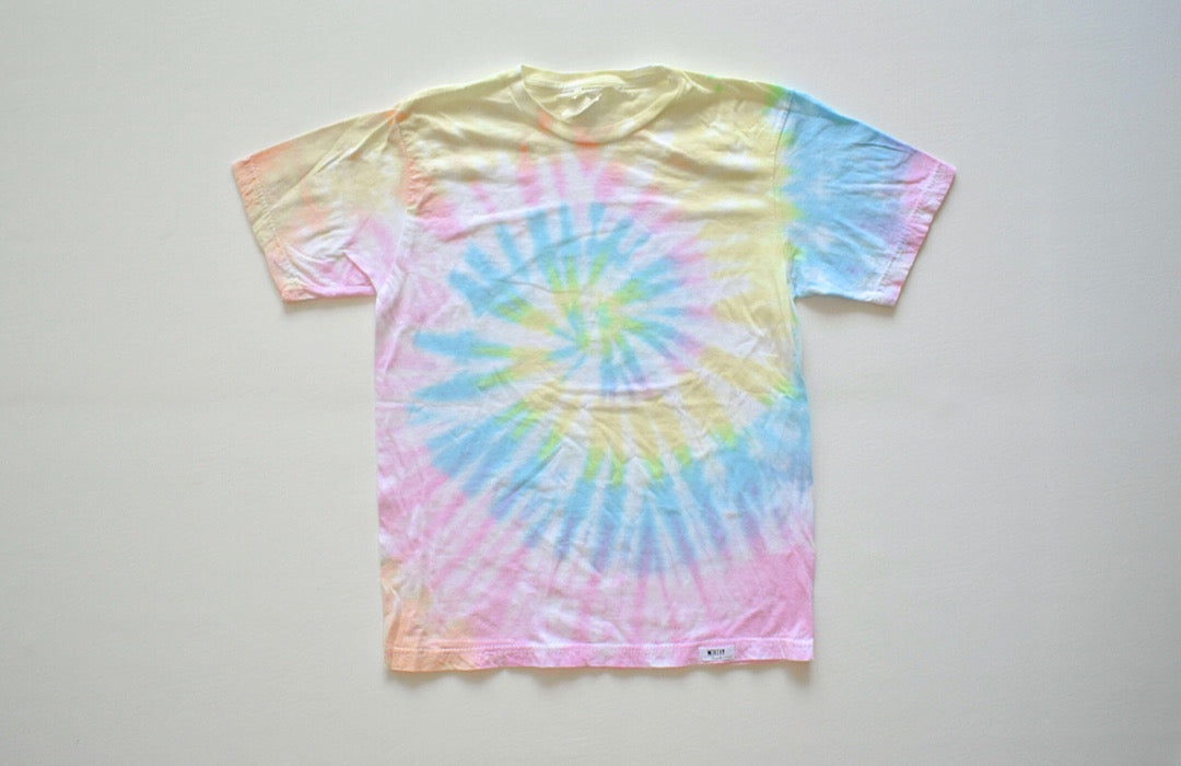Unique tie dye clothing: adult tie dye t-shirt in pastel colors.
