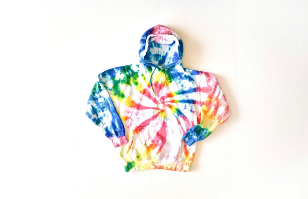 Adult tie dye loungewear: tie dye hoodie in multi colors