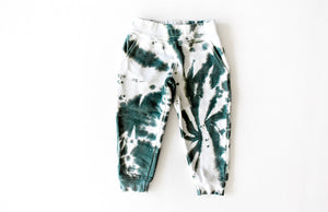 Kids tie dye joggers in green: add tie dye hoodie for matching loungewear set!