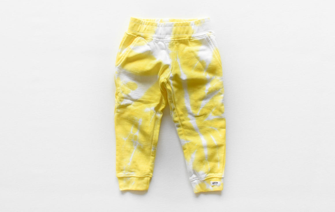 Kids tie dye joggers in yellow: unique kids clothing matching embroidered hoodie