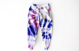 Adult tie dye joggers in purple: tie dye loungewear set joggers