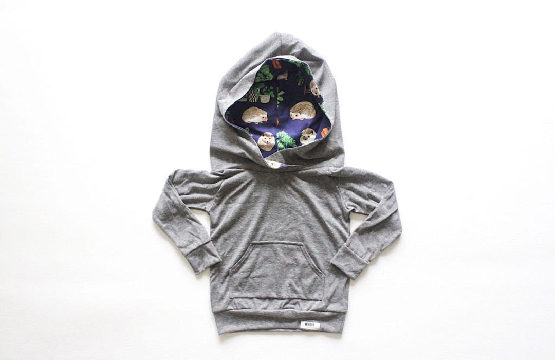 Grey hoodie with Hedgehog hood lining by Worthy Threads, brand for unique kids clothing