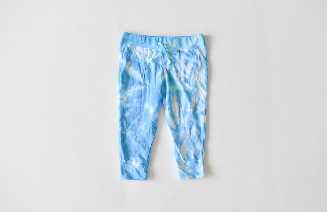 Kids tie dye joggers in blue: tie dye lightweight sweatpants