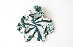 Kids tie dye hoodie in green: add tie dye joggers for matching loungewear set!