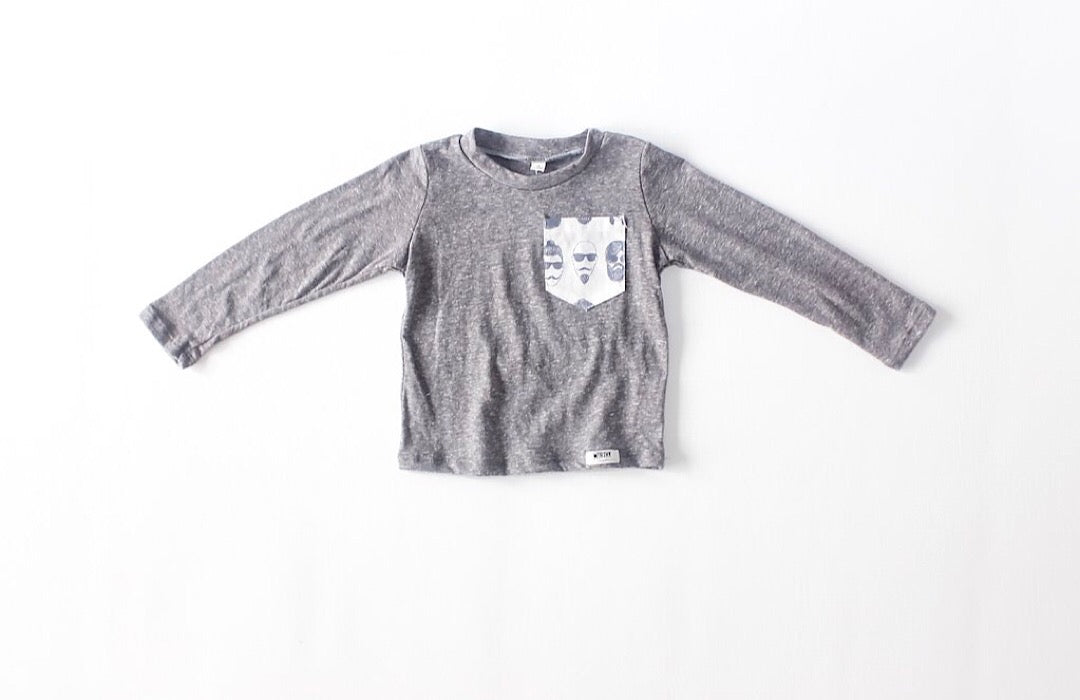 Grey long sleeve t-shirt with printed pocket in Beatnik fabric by Worthy Threads clothing brand for unique baby clothes!