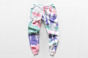 worthy threads & jaimie geller collaboration joggers featuring pink, purple and mint tie dye