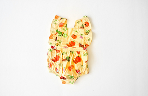 Bubble romper in veggie print: baby clothes by Worthy Threads