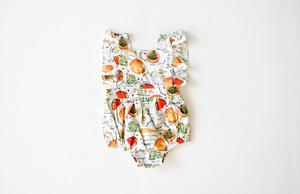 Baby bubble romper in cheese print: unique baby clothes