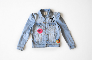Adult puff sleeve denim jacket with patches
