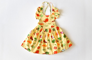 Ruffle sleeve dress in veggies fabric: unique kids clothing