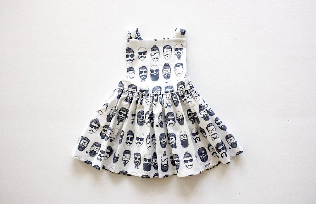 Baby pinafore dress in Beatnik print.  Unique toddler clothes by Worthy Threads clothing brand with sibling coordinating outfits available!