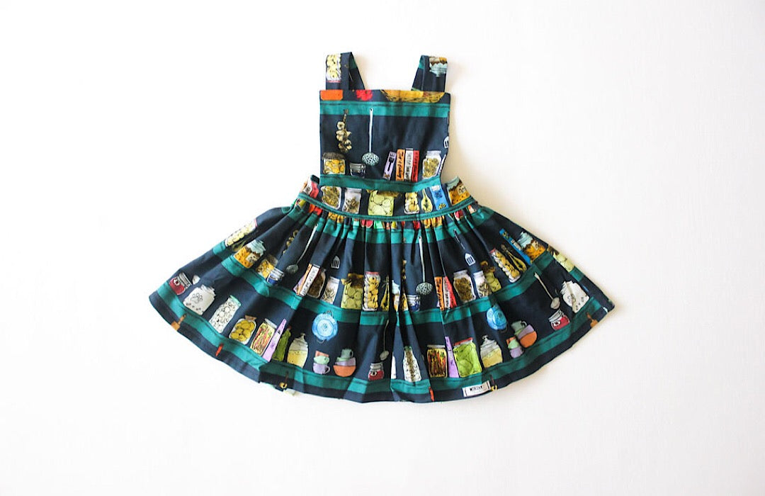 Girls pinafore dress in Canning themed fabric.  Unique kids clothing for your tiny style icon!