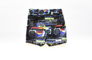 Baby shorts in boombox print: retro baby clothes