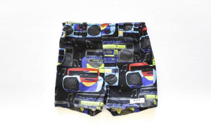 Kids shorts in boombox print: retro kids clothes