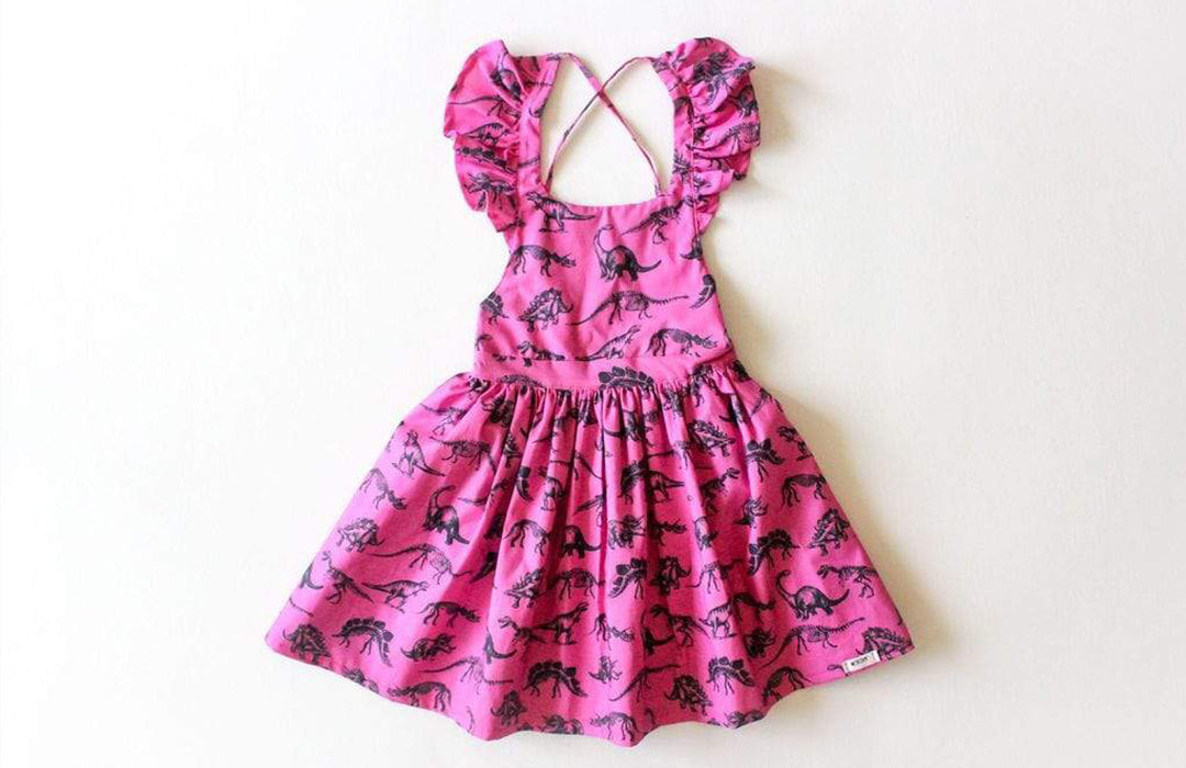 Ruffle dress in dinosaur print: dinosaur clothes for girls