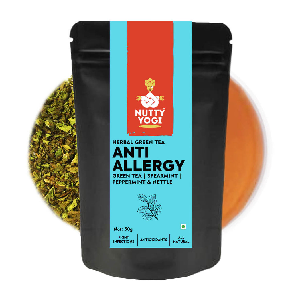 Nutty Yogi Anti Allergy Tea | Herbal Green Tea with Spearmint, Peppermint and Nettle Leaves I 50g