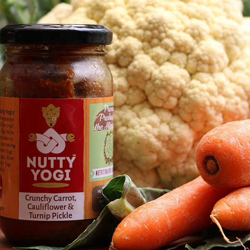 Crunchy Carrot, Cauliflower and Turnip Pickle - Nutty Yogi
